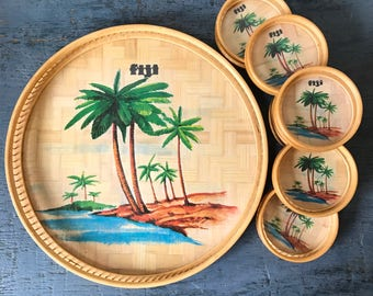 vintage bamboo tray and coasters - Fiji kitsch serving set - Tiki tropical island bar accessories