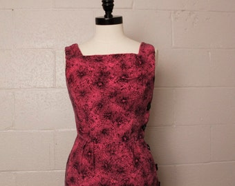 Vintage 1950's Magenta Hot Pink Black Atomic Wiggle Dress S 26 waist