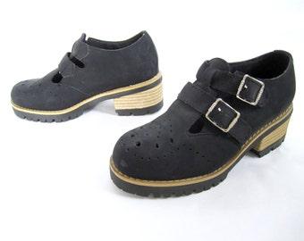 vintage 1990s FAUX black suede MARY jane brogue PLATFORM t-strap buckle shoes vegetarian school girl womens 6 1/2 goth punk lolita unworn