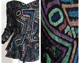 vintage 1970s 1980s super METALLIC bold graphic blouse DISCO bowie grace jones avant garde festival style womens S out of this world