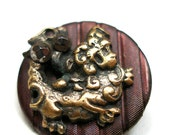 """Antique DRAGON BUTTON, 1800s Victorian FooDog monster, 9/16"""", unused."""