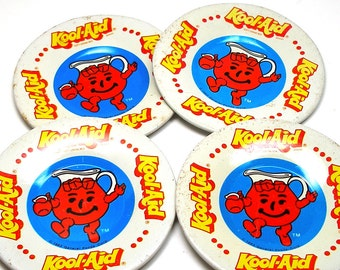80s Tin Toy Tea plates, 4 with Kool-Aid man. 3 1/4""