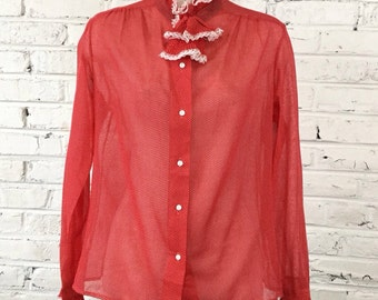 1980s Sheer Red and White Polka Dot Blouse with detachable Jabot, size L