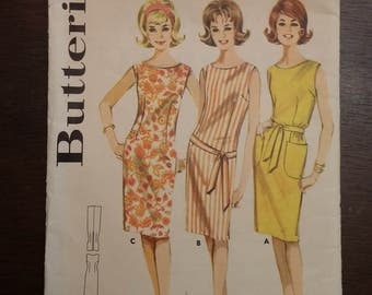 Retro Teen Dress Pattern Butterick #2680 - Opened and Cut - Sz 9-16 in Juniors/Teen from 1960s