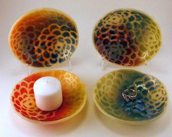 Fused Glass Zinnia Flower Pattern Ring Holder Trinket Dish
