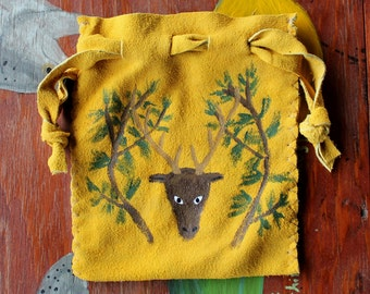 Gold deerskin suede leather drawstring pouch bag with painted stag and tree branches for tarot runes dice