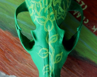 Fox rattle - hand-painted real red fox skull with vintage green leaf and plant motif for rituals, music and more