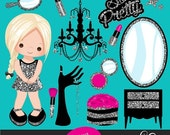 Pink & Silver Glitter Make up Party Clipart, make up, powder, eye shadow, lipstick, nail polish and silver glitter cute characters