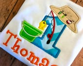 Fishing Birthday Shirt or Bodysuit,  Fishing 1st Birthday Shirt, Gone Fishing Birthday Shirt,  Camping Birthday Shirt, Baby Boy Shirt