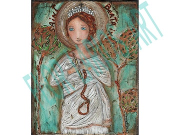 Saint Beatrix - Print  from Painting by FLOR LARIOS (8 x 10 INCHES)
