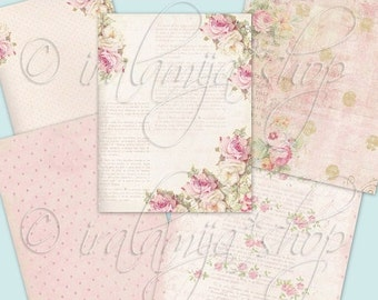 "SALE ROMANTIC 8.5"" x 11"" backgrounds Collage Digital Images -printable download file-"