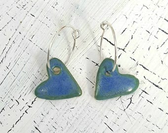 Porcelain and Sterling Silver Heart Earrings In Pacific Blue