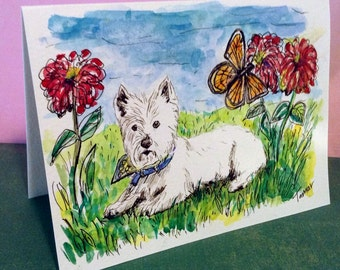 Westie and Monarch Butterfly Card, Spring Artwork, Hand Painted Cards, Dog Card, Dog Paintng, Original Watercolour, Westie Art ,Butterfly