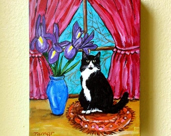 """Long Haired Tuxedo Cat and Iris Vase, Original Cat Artwork, Canvas Painting, 8X10"""", Flower Vase Painting, No Frame Needed, Cat in Window"""