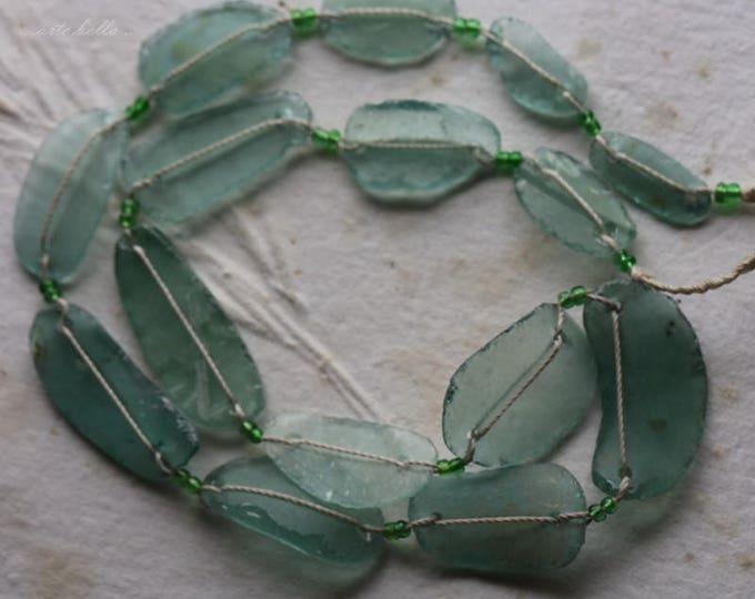 ANCIENT ROMAN GLASS No. 245 .. Genuine Antique Roman Glass Fragment Beads (rg-245)