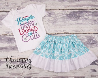 Back To School Outfit, Toddler Girl Clothes, Glitter Top and Twirl Skirt, Kindergarten Never Looked So Cute Aqua Damask Charming Necessities