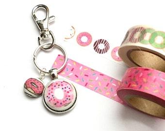 Donut Keychain, Fabric Button Keychain, Food Keychain, Pink Donut, Sprinkled Donut, Fabric Button