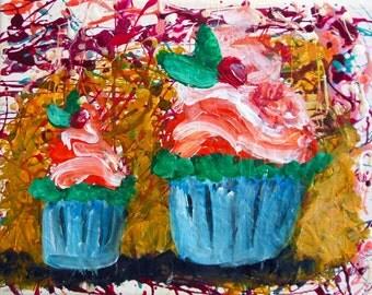 Cupcakes Orange Flavour Original Modern Art Fantasy mixed media painting - 24 x 30 cm