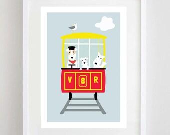 Dogs on Train Print - Terrier Train Print - Volk's Railway - Dog Print - Dog Art - Terrier Print - Kids Room Decor - Funny Print