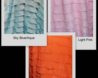 "RUFFLES 1"" ruffle nylon spandex stretch fabric BTY  Light Pink Sky Blue Crimson Orange Avail in 12 colors"