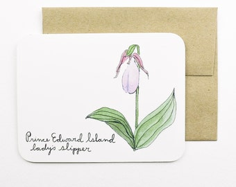 Prince Edward Island | Lady's slipper | Flowers of the Provinces and Territories card with envelope | Canadian flowers
