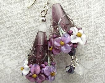 Lampwork Earrings Lavender White Flower Cone Earrings Glass Bead Earrings Dangle Drop Earrings SRAJD USA Handmade