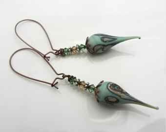 Lampwork Earrings Greenish Blue Colored Earrings Glass Bead Earrings Dangle Drop Earrings SRAJD USA Handmade