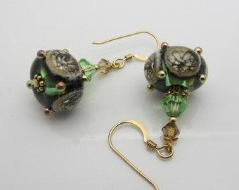 Lampwork Earrings Bubble Bead Silvered Green Earrings Glass Bead Earrings Dangle Drop Earrings Handmade Earrings SRAJD Mothers Day Gift