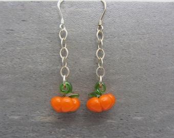 Pumpkin Earrings Dangling Fall Earrings Autumn Earrings Orange Fall Gifts Halloween Jewelry Glass Pumpkin SRAJD