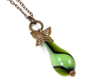 Deep Green Blown Glass Pendant on Brass