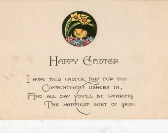 Easter Postcard - EASTER VINTAGE POSTCARD - Adorable Chick Spring flowers, daffodil, lilies Post Card