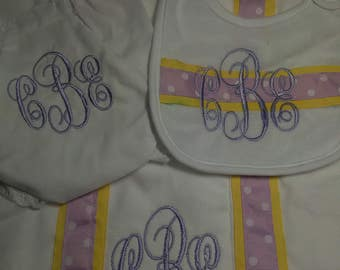 Monogrammed Baby Set with Bib Burp Cloth and Diaper Cover