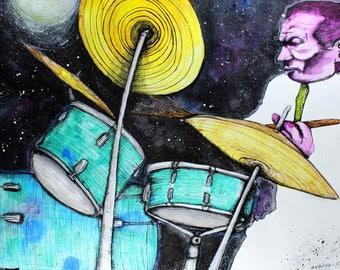 """Jazz Decor - Jazz Drummer Art - Music Art - Drummer Gifts - """"Deep Pockets"""" by Far Out Arts"""