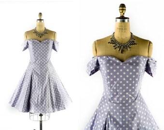 40% OFF SALE Vintage 80s Dress // 1980s Dress // 50s Style Dress // LAURA Ashley Dress // Off the Shoulder Dress // Polka Dot Dress - sz M -
