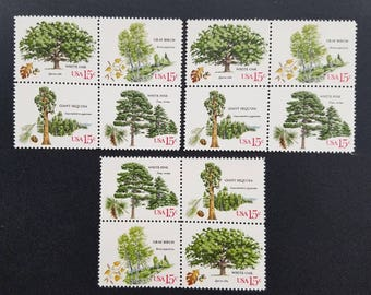 Vintage unused postage stamps - trees, 15 cent stamps, a lot of 12 stamps