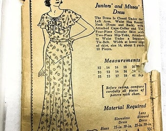 Vintage 1930s Mail Order Dress Pattern 370 . 30s Dress Cape Collar . Unprinted Pattern Complete with instructions 38 Bust 41 Hip Art Deco