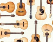 One (1) Yard- In Tune Acoustic Guitars by Robert Kaufman Fabrics SRK-15661-15 Ivory