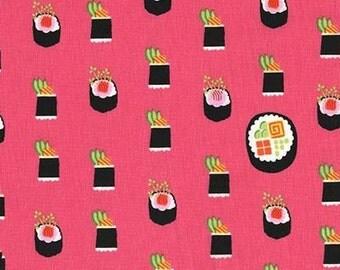 Two (2) Yards - Maki Sushi Fabric Michael Miller DC7464-SALM-D Salmon Pink