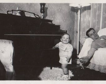 Original Vintage Photograph Man Laying on Couch by Baby Boy & Piano 1940s