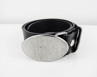 Textured Oval Stainless Steel Belt Buckle