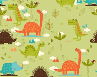 """Dinosaurs on Green ~ Home Decor Fabric ~ Cotton Duck ~ Riley Blake ~ 55/56"""" wide ~ Sold by the Yard"""