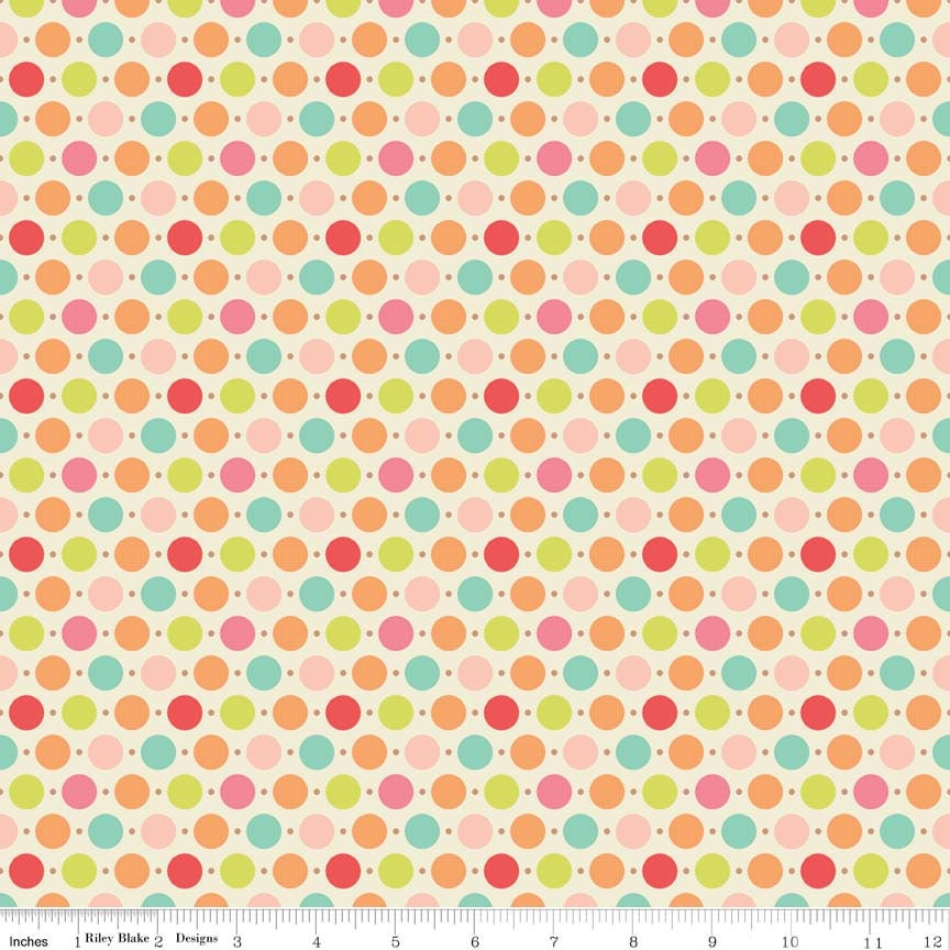 Multi color dots home decor fabric cotton duck 55 56 for Decor 55 fabric