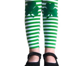 Shamrock Leggings. St Patrick's Leggings. Shamrock Tights. Irish Leggings. Toddler leggings. Green Leggings. Knee patch Leggings.