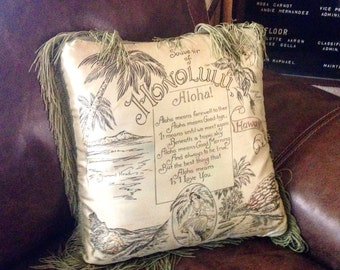Vintage Honolulu Hawaii Satin Pillow with Fringe Souvenir Kitsch Hawaiiana Tropical Beach Cottage Decor