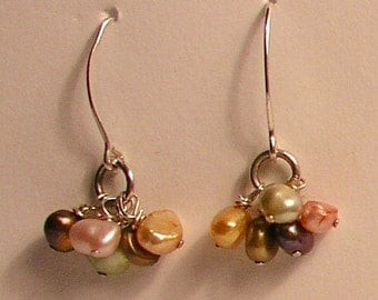 Pearl cluster and sterling silver earrings