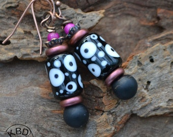 Lampwork Headpins and Kazuri Bead Earrings