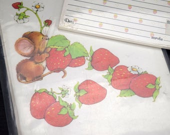 Olympicard Folding Note Cards and Recipe Cards Mouse and Strawberries Vintage Stationery