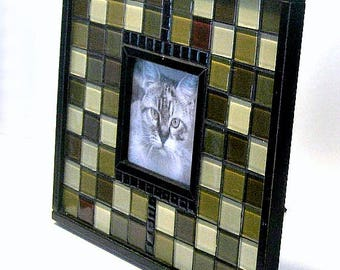 Black Green Mosaic Picture Frame, Black Green Shades Glass Wood Mosaic Frame, Handmade Mosaic Photo Frame, Square Picture Frame
