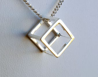 Sterling Silver Cube Necklace - Geometric Necklace - Square Necklace - Everyday Necklace - Modern Necklace