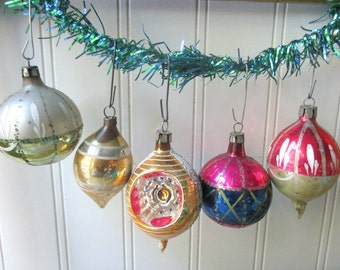 5 Vintage Christmas tree ornaments baubles balls Poland indented blue green silver gold mercury glass Holiday G1